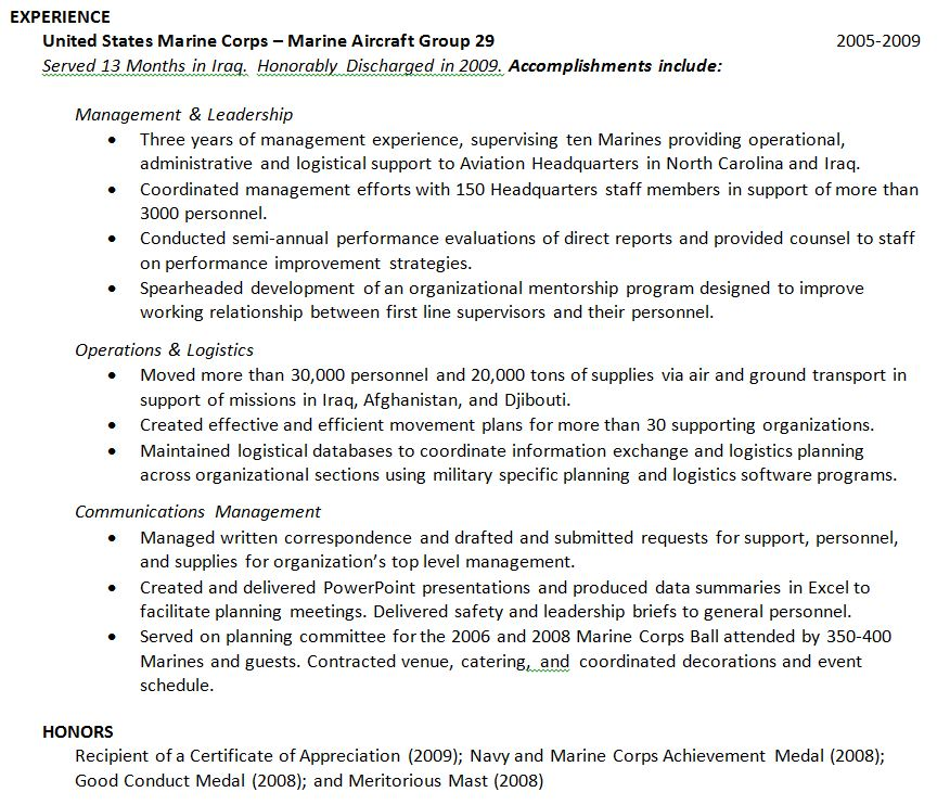 Military Experince 4  Resume For Military