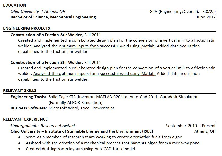 Project Work  Relevant Skills Resume